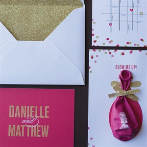 Playful Pink and Gold Invitations