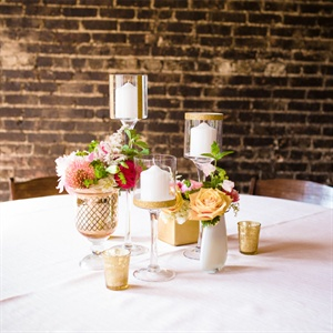 Gold Rimmed Pillar Candle Holders