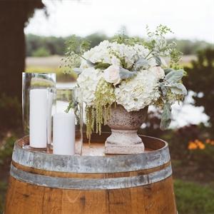 Hydrangea and Wine Barrel Decor