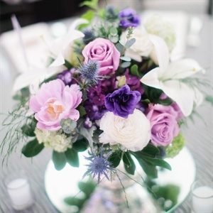Low Purple and White Centerpieces