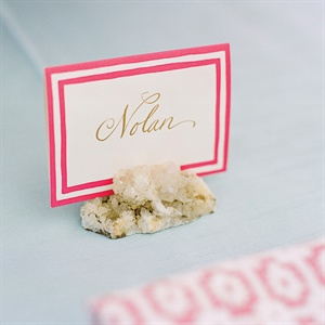 Pink Striped Place Cards