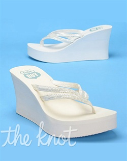"Flip flop features dual straps covered in clear beading and 3 1/2"" heel. White or Ivory; sizes 5-10"