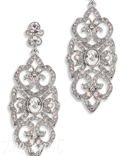 Earrings feature rhodium finish, crystals and rhinestones. Also available in gold.