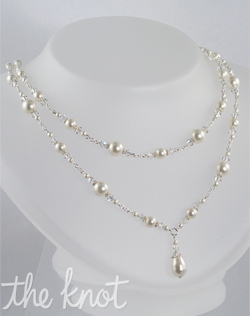 "Sterling silver or 14K gold necklace features Swarovski crystals and pearls. Various crystal and pearl colors; 18"" adjustable length."