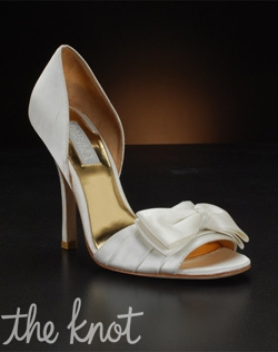 "Satin shoe with crystals and 3 3/4"" heel. Bright or muted white."