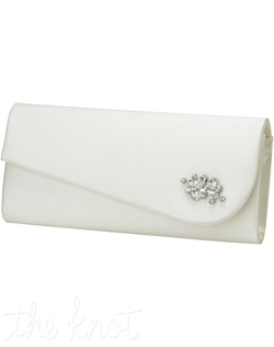 Silk clutch with Swarovski crystals. White or ivory.