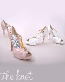 "Silk satin peep-toe platform sandal features 4"" heel and full Poron® padded insole with built-in arch support. Pink/Gold or White/Silver; Sizes 5-10"