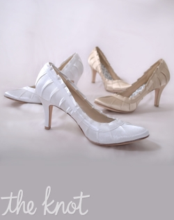 "Pleated silk satin pump features 3"" heel and ruffled edge. Gold or White; Sizes 5-10"