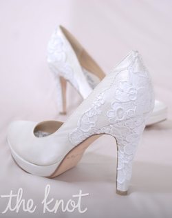 "White silk satin platform pump features 3 or 4"" reembroidered heel and full Poron® padded insole with built-in arch support. Sizes 5-10"