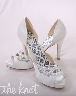 White silk satin D&#39;orsay peep-toe platform sandal features 3 or 4&quot; heel and rhinestone crystals. Sizes 5-10