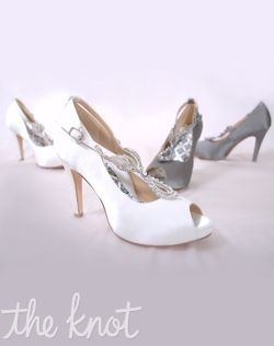 Silk satin peep-toe platform pump features rhinestone strap and full Poron® padded insole with built-in arch support. White or Gunmetal Grey; Sizes 5-10