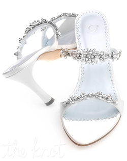 "Shoe features 3"" heel. White or ivory. Sizes 5-11M"