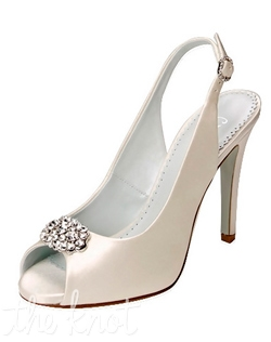 "Shoe features 4.25"" heel. White or ivory. Sizes 5-11M"