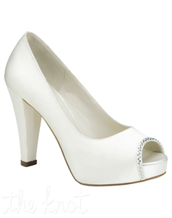 "Shoe features 4"" heel. White or ivory. Sizes 6-9.5"