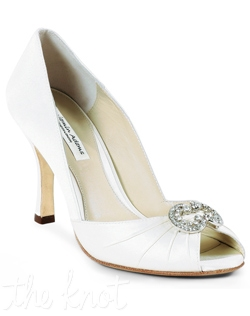 "Shoe features 3 1/8"" heel. White or ivory. Sizes 6-9.5"
