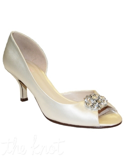 "Shoe features 2.5"" heel. White or ivory. Sizes 5-10M"