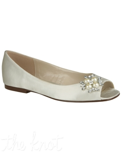 "Shoe features 1/4"" heel. White or ivory. Sizes 6-10M"