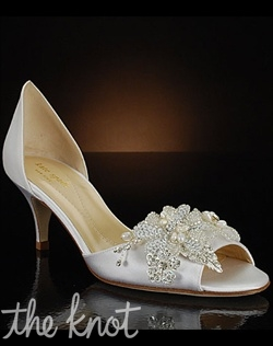 Low-heel shoe features multiple decorative options for toe. Exclusive to MyGlassSlipper.com.