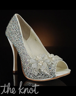 Shoe features decoration at toe. Exclusive to MyGlassSlipper.com.