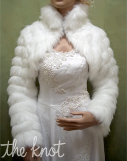 Faux fur satin bolero. White, ivory, or black; Sizes S, M, L