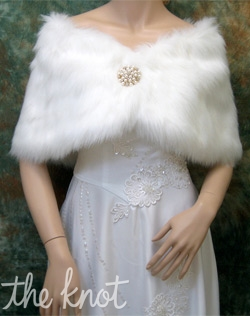 Faux fur satin wrap. Ivory, white, or black; Sizes regular, large, plus