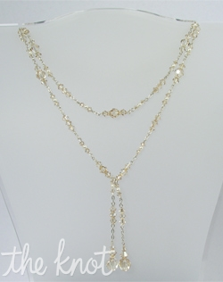 "Sterling silver or 14k gold-filled necklace features Swarovski crystals and pearls that are available in various colors. 40"" L, custom sizes available"