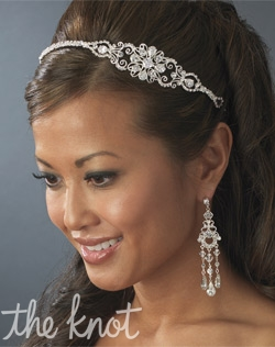Silver plated headband features rhinestones. <p> Matching rhinestone earrings also available.