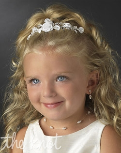 Flower girl headpiece features white or ivory faux pearls and rhinestones. Matching pearl illusion jewelry set also available.