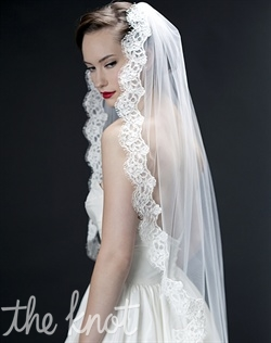 "Tulle Mantilla veil features 2"" of Alencon lace trim. Available in pale ivory or diamond white. Any length available."