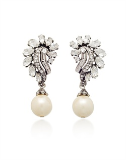 "Antiqued silver pierced earrings feature hand-cut Swarovski crystals and synthetic pearls. 2"" L"