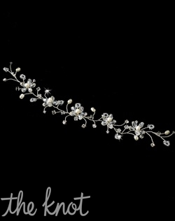 Headband features freshwater pearls, crystal beads, and rhinestones.
