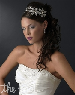 Headband features three strands of rhinestones and faux pearls.