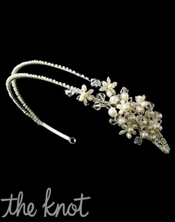Gold double-banded headband features freshwater pearls, Swarovski crystals, rhinestones, and beads.