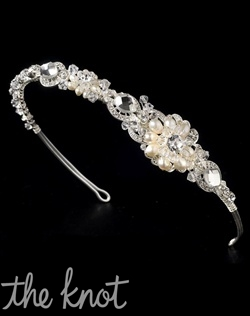 Silver-plated headband features freshwater pearls, Swarovski crystals, and rhinestones.