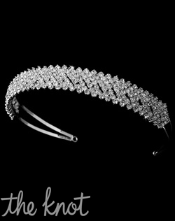 Silver-plated or gold headband features rhinestones.