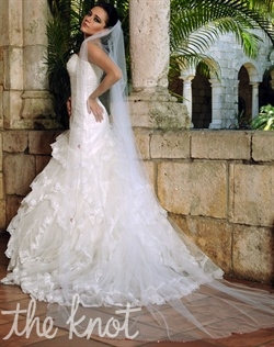 Cathedral-length tulle veil features hand beading. Various colors and lengths available upon request. 108&quot; L