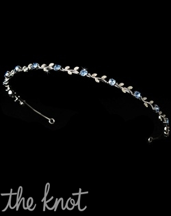 Silver-plated headband features blue rhinestones with clear leaf design. Fuchsia, Red, Lavender, Pink, and Gold/Clear rhinestones also available.