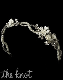 Silver-plated headband features off-white enamel flowers, rhinestones, and beads.