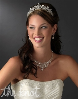 Silver-plated hand-wired crown features Swarovski crystals and rhinestones. Matching jewelry set also available.