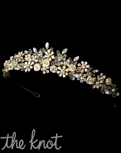 Crown features crystals, rhinestones, and champagne enamel flowers.