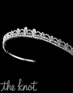 Silver-plated crown features rhinestones and crystals.