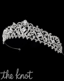 Gold or silver-plated crown features rhinestones.