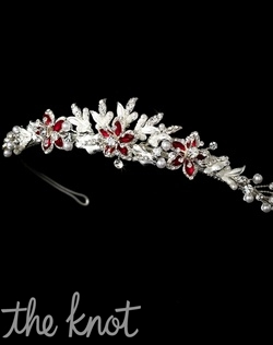 Crown features faux pearls, rhinestones, and red accent stones. White, Black, Gold, Champagne, and Blue are also available color options.