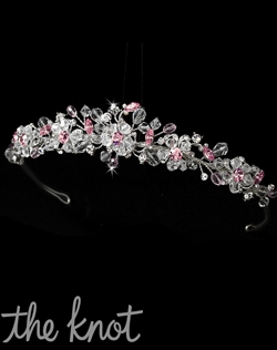 Crown features clear and pink crystal beading, scattered Swarovski crystals, and rhinestones.  Various stone colors avaiable.