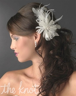 White or ivory feather clip features rhinestones and crystals.