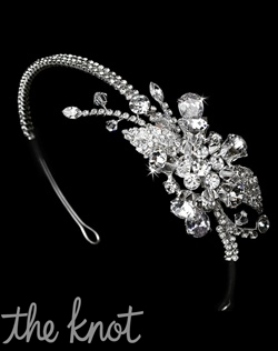 Silver-plated headband features rhinestones and crystals.