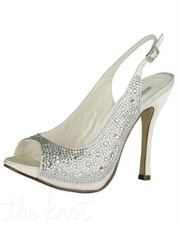 Ivory Duchesse silk platform features Swarovski crystals and slingback heel. Sizes 5, 6-10