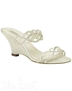 White or ivory Duchesse silk sandal features Swarovski crystals. Sizes 5, 6-10