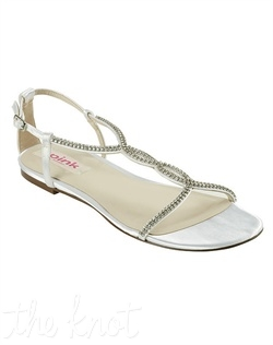 Satin flat sandal features crystal strap. Available in ivory or white dyeable. Sizes 6-9.5, 10, 11, 12