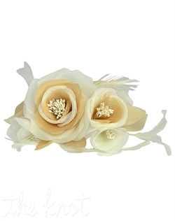 Hair comb features champagne or diamond white rosettes with pearl and crystal centers and feathers.